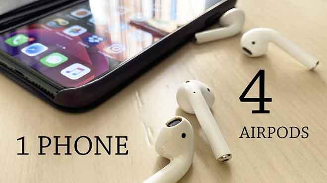 Как подключить две пары AirPods к iPhone