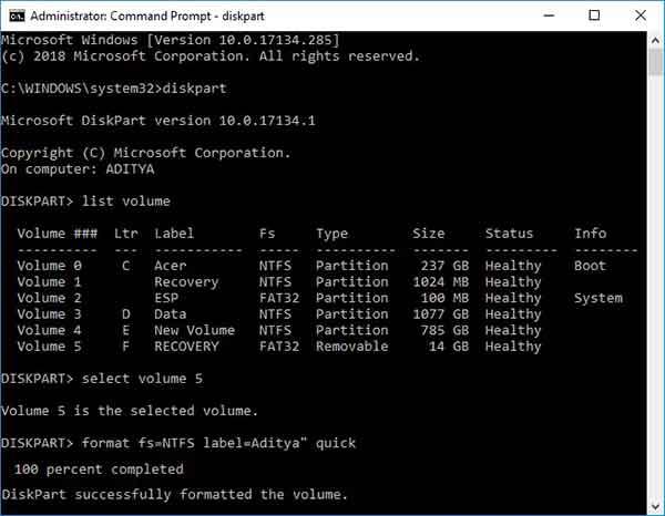 Как отформатировать жесткий диск Windows 10